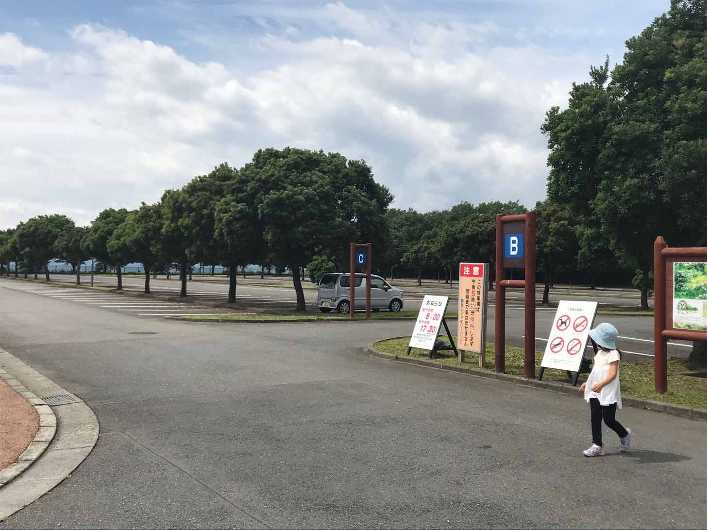 観音山ファミリーパーク朝の駐車場